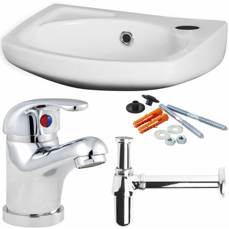 Nuie Brisbane Wall Hung Basin with Tap Bottle Trap and Fixing - 450mm W