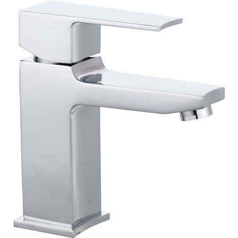 Nuie CAM305 Camber | Modern Bathroom Square Mono Basin Mixer Tap with Free Push Button Waste, 163mm x 56mm, Chrome, Silver