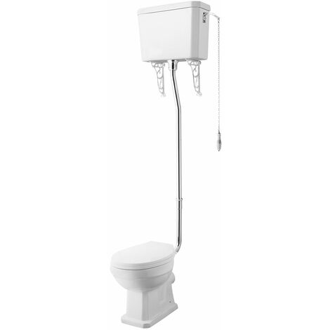 Nuie Carlton High Level Toilet with Lever Cistern and Flushpipe - Excluding Seat