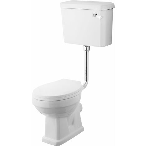 Nuie Carlton Low Level Toilet with Lever Cistern and Flushpipe Excluding Seat