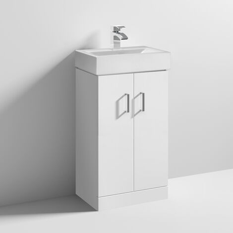 Nuie Checkers White Floor Standing Vanity Unit with Basin 460mm Wide - 1 Tap Hole