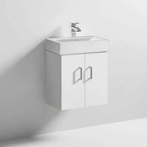 Nuie Checkers White Wall Hung Vanity Unit with Basin 460mm Wide - 1 Tap Hole