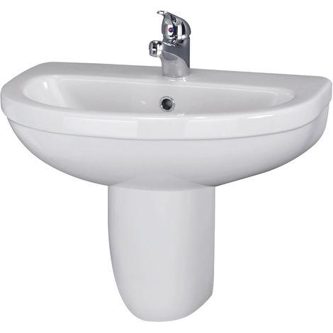 Nuie CIV004 Ivo | Ivo 550mm Basin 1TH & Semi Pedestal, White