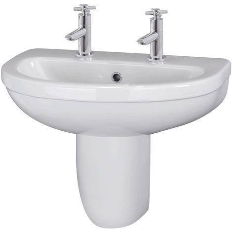 Nuie CIV005 Ivo   Ivo 550mm Basin 2TH & Semi Pedestal, White