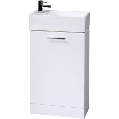 Nuie Cloakroom Gloss White 450mm Compact Vanity Unit and Basin with 1 Tap Hole - VTY058
