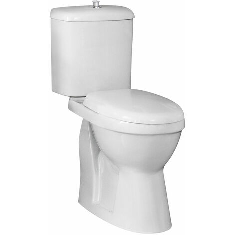 Nuie Comfort Height Close Coupled Toilet with Push Button Cistern - Soft Close Seat