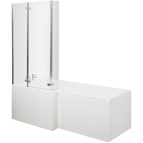 Nuie Cove L-Shaped Shower Bath Hinged Screen 1700mm x 700mm/850mm Left Handed