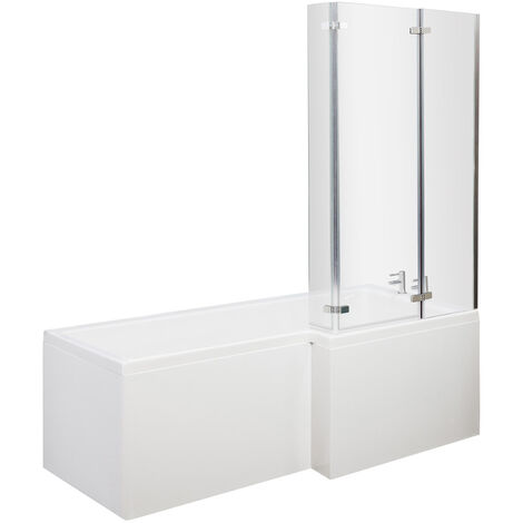 Nuie Cove L-Shaped Shower Bath Hinged Screen 1700mm x 700mm/850mm Right Handed