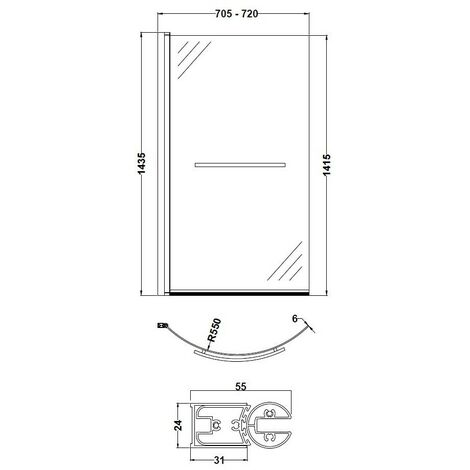 Nuie Curved Hinged Shower Bath Screen with Towel Rail