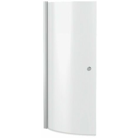 """main image of """"Nuie Curved P-Shaped Hinged Bath Screen with Knob 1433mm H x 715mm W - 6mm Glass"""""""