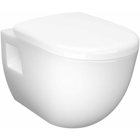 Nuie D Shaped Wall Hung Toilet Pan 510mm Projection - Soft Close Seat