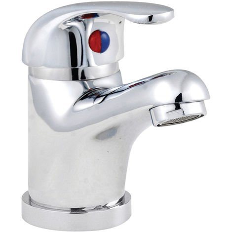 Nuie DTY335 Eon ǀ Modern Bathroom Round Single Lever Mono Basin Mixer Tap, 94mm x 40mm, Chrome