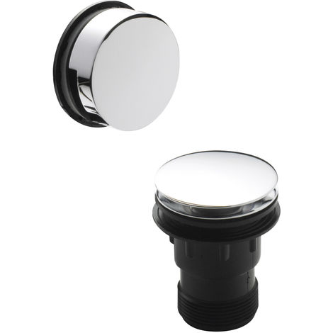 Nuie E327 ǀ Modern Bathroom Easyclean Push Button Bath Waste with Minimalist Overflow, 70mm x 70mm, Chrome