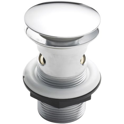 Nuie E328 ǀ Modern Bathroom Easyclean Slotted Push Button Plug Basin Waste , 82mm x 61mm, Chrome