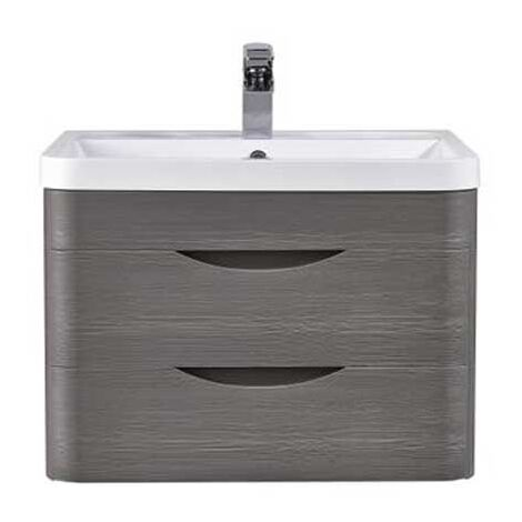 Nuie Eclipse 2 Drawer Wall Hung Vanity Unit with Basin 600mm Wide - Midnight Grey
