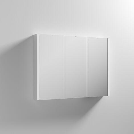 Nuie Eden 3 Door Mirrored Bathroom Cabinet 900mm Wide White