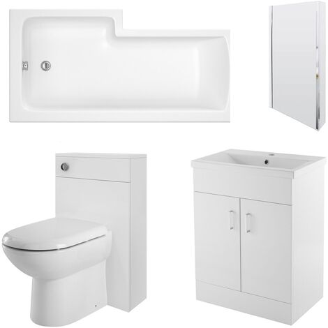 Nuie Eden Complete Furniture Bathroom Suite with L-Shaped Shower Bath 1700mm - Right Handed
