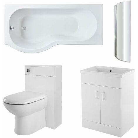 Nuie Eden Complete Furniture Bathroom Suite with P-Shaped Shower Bath 1700mm - Left Handed