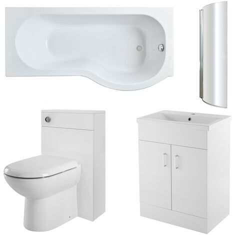 Nuie Eden Complete Furniture Bathroom Suite with P-Shaped Shower Bath 1700mm - Right Handed