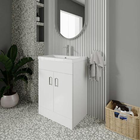 Nuie Eden Floor Standing 2-Door Vanity Unit and Basin 1 Gloss White - 600mm Wide