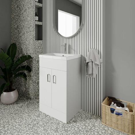 Nuie Eden Floor Standing 2-Door Vanity Unit and Basin 2 Gloss White - 500mm Wide