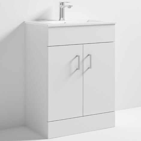 Nuie Eden Floor Standing 2-Door Vanity Unit and Basin 2 Gloss White - 600mm Wide
