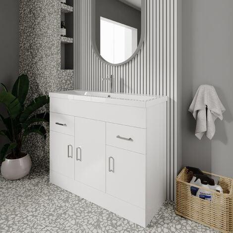 Nuie Eden Floor Standing 3-Door Vanity Unit and Basin 2 Gloss White - 1000mm Wide