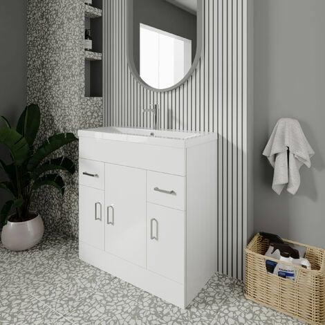 """main image of """"Nuie Eden Floor Standing 3-Door Vanity Unit and Basin 2 Gloss White - 800mm Wide"""""""