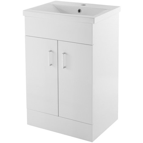 Nuie Eden Gloss White 500mm Floor Standing Vanity Unit with 18mm Profile Basin - VTMW500