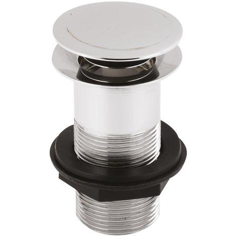 Nuie EK304 ǀ Modern Bathroom Push Button Unslotted Basin Waste, 97mm x 61mm, Chrome