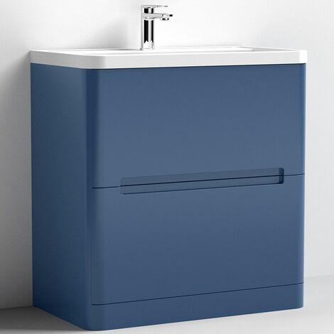 Nuie Elbe Floor Standing 2-Drawer Vanity Unit with Ceramic Basin 800mm Wide - Satin Blue