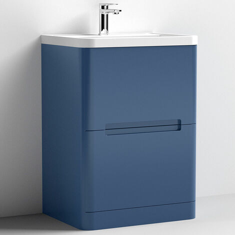 Nuie Elbe Floor Standing 2-Drawer Vanity Unit with Polymarble Basin 600mm Wide - Satin Blue
