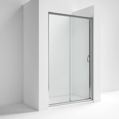 "main image of ""Nuie Ella Sliding Shower Door 1200mm Wide - 5mm Glass Chrome"""