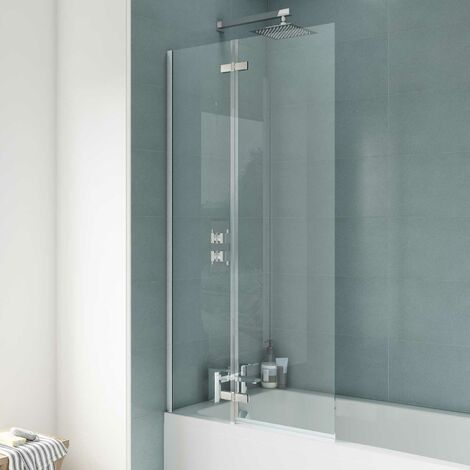 Nuie Ella Straight Hinged Bath Screen, 1400mm High x 745mm Wide, 5mm Glass