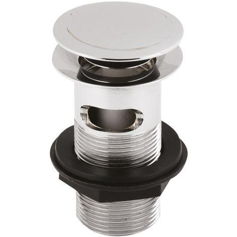 Nuie ER07 ǀ Modern Bathroom Stainless Steel Push Button Basin Waste, 97mm x 61mm, Chrome
