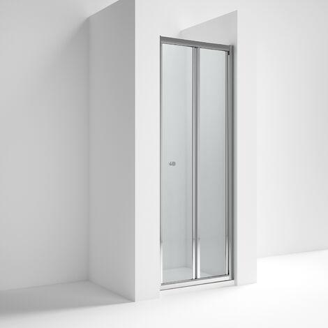 Nuie ERBD76 Ella | Modern Bathroom Reversible Bi-Fold Shower Door with 5mm Toughened Safety Glass, 760mm, Glass