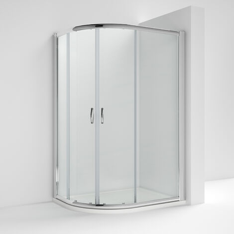 Nuie ERQ128 Ella | Modern Bathroom Offset Quadrant Shower Enclosure with 5mm Toughened Safety Glass, 1200mm x 800mm, Glass