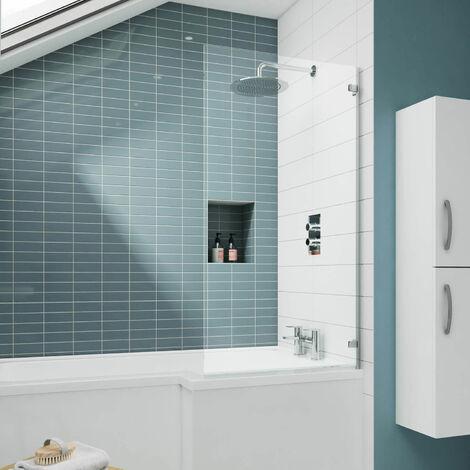 Nuie ERSSQ Ella | Modern Bathroom Fixed Bath Screen For Straight Shower Baths, 780mm x 1435mm, Chrome