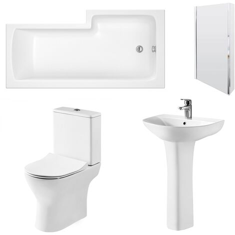 Nuie Freya Complete Bathroom Suite with L-Shaped Shower Bath 1700mm - Left Handed