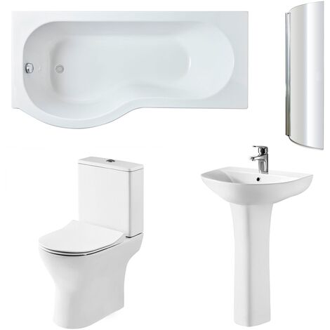 Nuie Freya Complete Bathroom Suite with P-Shaped Shower Bath 1700mm - Left Handed