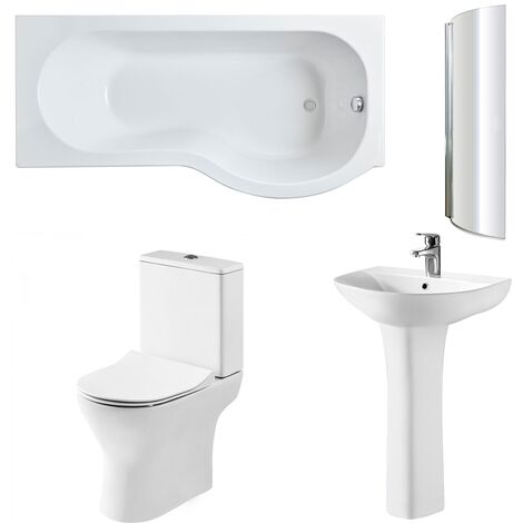Nuie Freya Complete Bathroom Suite with P-Shaped Shower Bath 1700mm - Right Handed