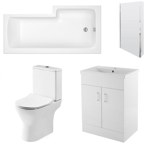 Nuie Freya Complete Furniture Suite with 600mm Vanity Unit and L-Shaped Shower Bath 1700mm LH