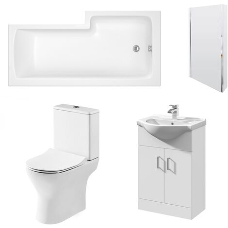 Nuie Freya Complete Furniture Suite with Vanity Unit and L-Shaped Shower Bath 1700mm LH