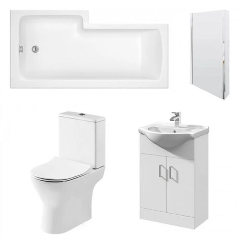 Nuie Freya Complete Furniture Suite with Vanity Unit and L-Shaped Shower Bath 1700mm RH