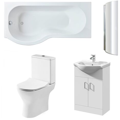 Nuie Freya Complete Furniture Suite with Vanity Unit and P-Shaped Shower Bath 1700mm LH