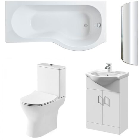 Nuie Freya Complete Furniture Suite with Vanity Unit and P-Shaped Shower Bath 1700mm RH
