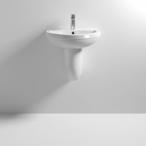 Nuie Harmony 500mm Basin with 1 Tap Hole and Semi Pedestal - CHM004