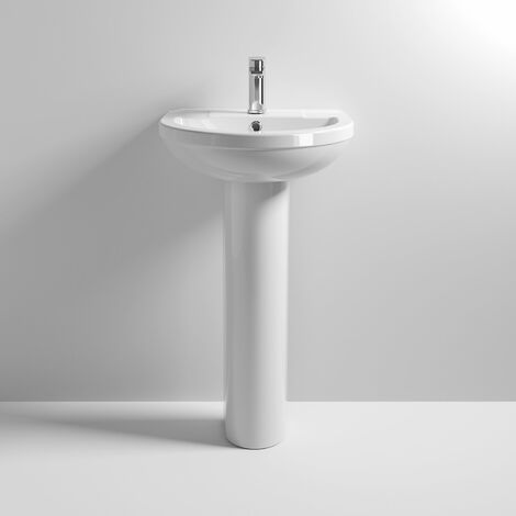 Nuie Harmony Basin and Full Pedestal 500mm Wide - 1 Tap Hole