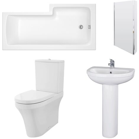 Nuie Ivo Complete Bathroom Suite with L-Shaped Shower Bath 1700mm - Left Handed