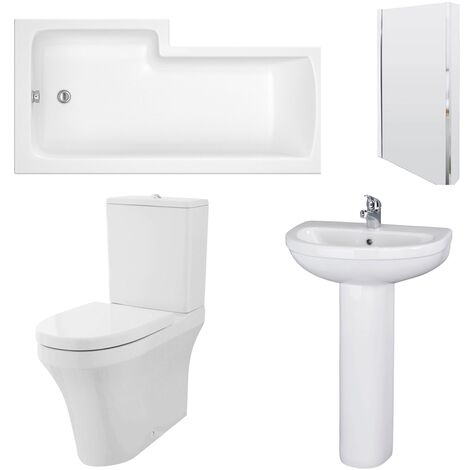 Nuie Ivo Complete Bathroom Suite with L-Shaped Shower Bath 1700mm - Right Handed